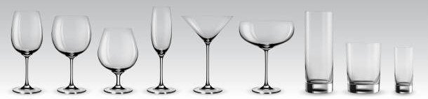 Set of transparent vector glasses for wine, martini, champagne and other